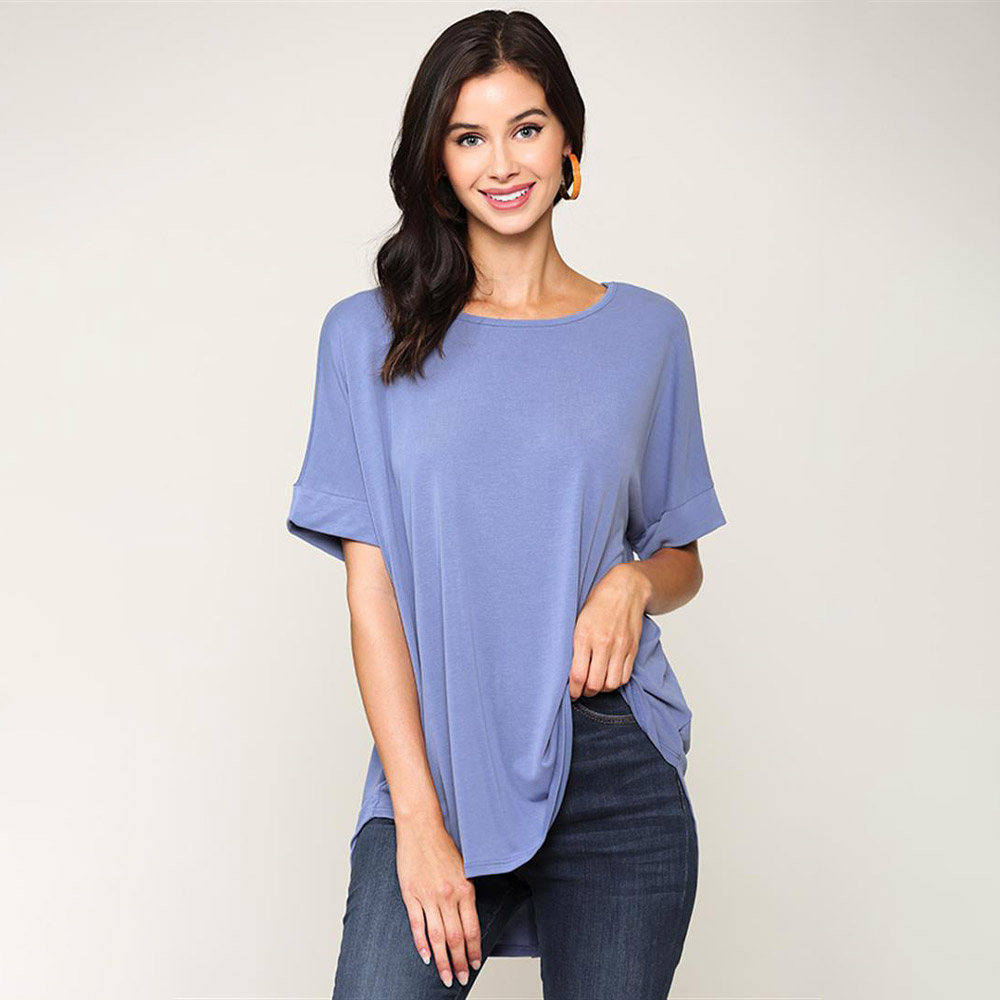 riveria blue cupro-back button detain hi-low top with elbow sleeves