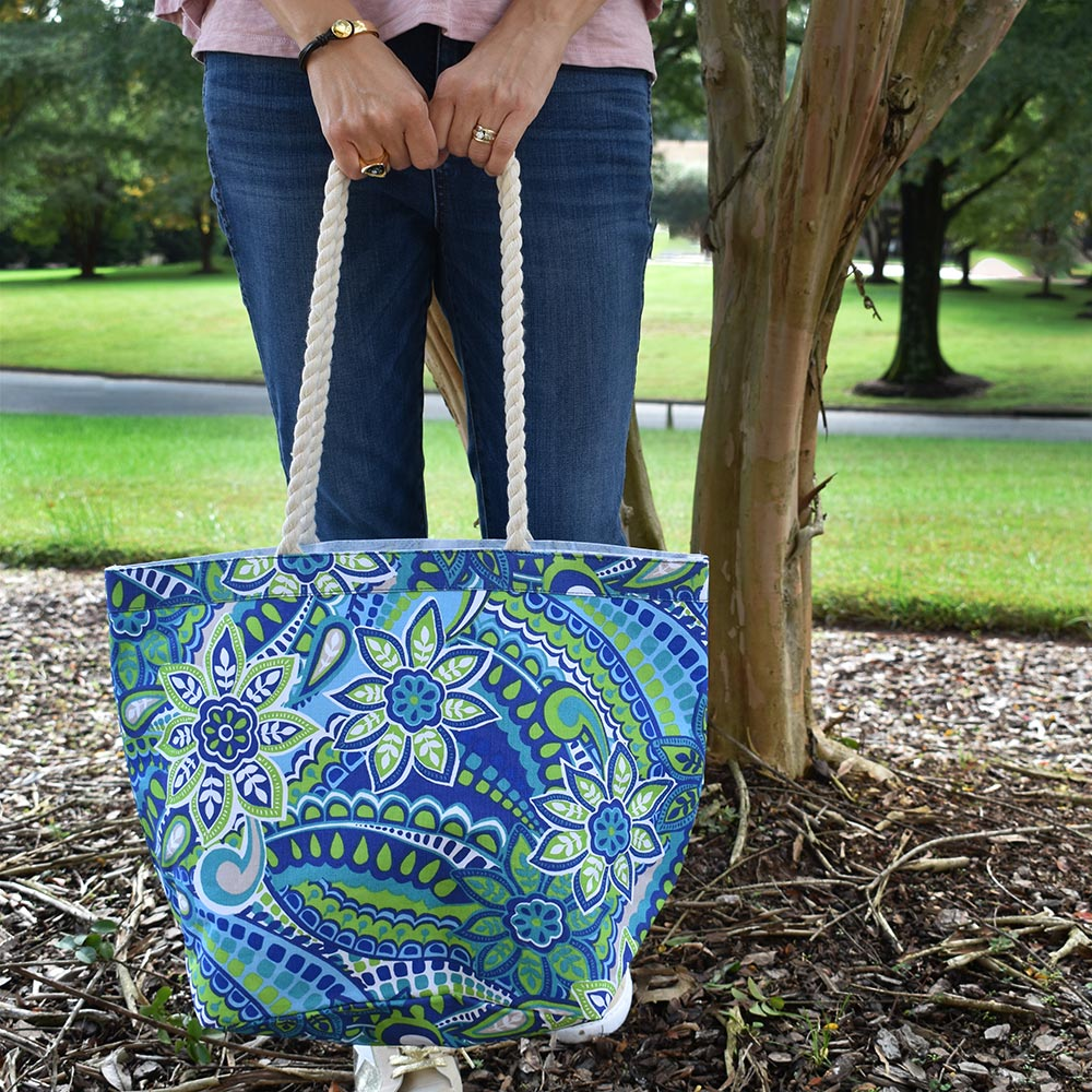 turqs and caicos canvas tote with rope handle