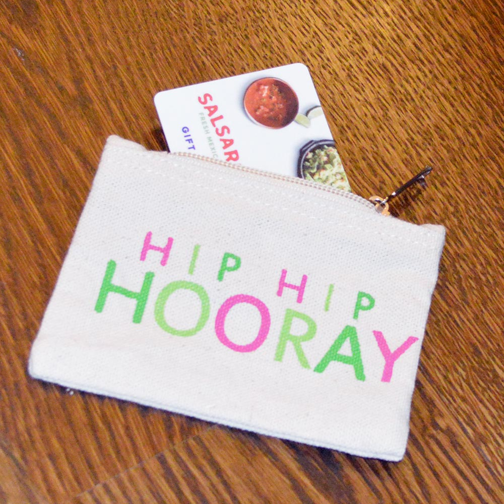 gift card holder hip hip hooray with color
