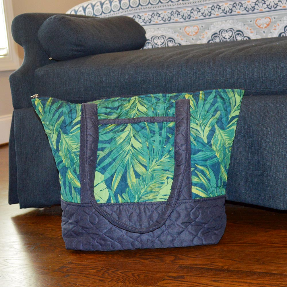 fern quilted tote